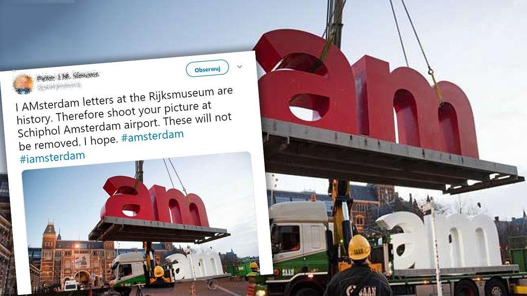 Słynny napis w Amsterdamie, który był jedną z jego największych atrakcji turystycznych, został usunięty