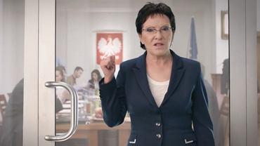 Ewa Kopacz w spocie PO zamyka drzwi do pokoju, w którym kłócą się politycy