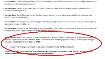 Fragment porządku obrad Sejmu