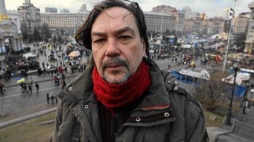 Ukraiński pisarz Jurij Andruchowycz na Majdanie