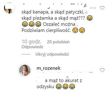 Komentarze na Instaramie Małgorzaty Rozenek