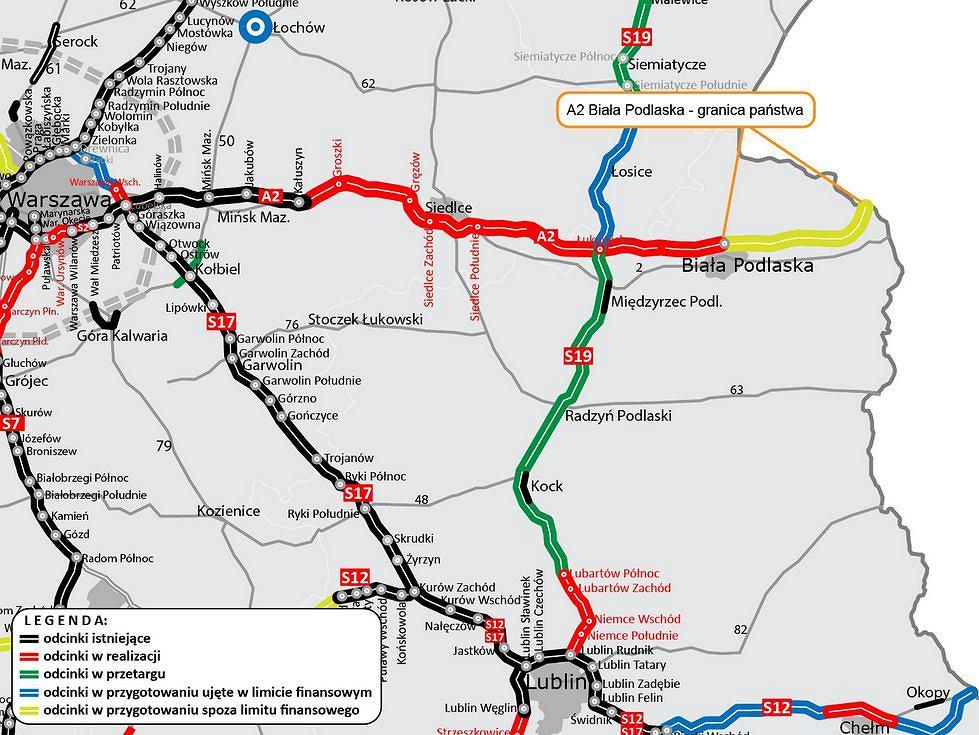 Autostrada A2 do granicy z Białorusią