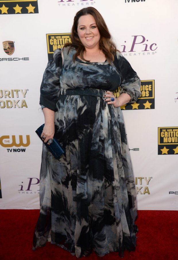 Melissa McCarthy arrives at the 19th annual Critics' Choice Movie Awards at the Barker Hangar on Thursday, Jan. 16, 2014, in Santa Monica, Calif. (Photo by Jordan Strauss/Invision/AP)