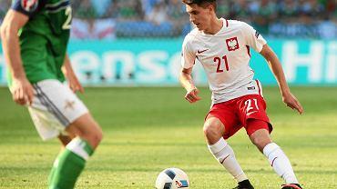 Bartosz Kapustka podczas meczu Polska - Irlandia Północna