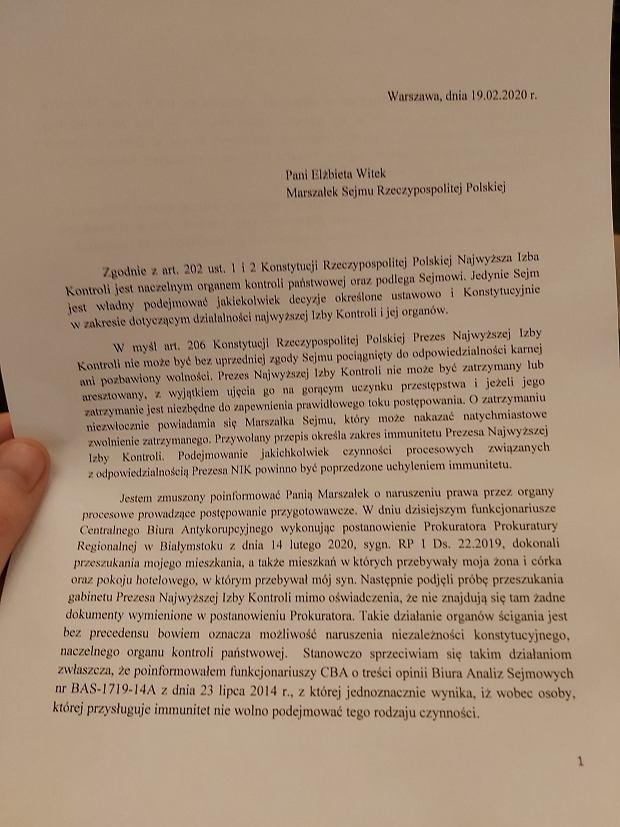 List Mariana Banasia do Elżbiety Witek