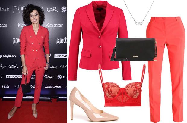Omena Mensah - stylizacja z czerwonym garniturem i beżowymi czółenkami