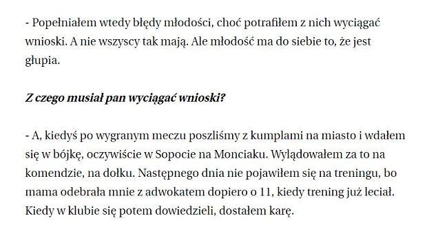 Fragment wywiadu Jarosława Bieniuka dla trójmiejskiej Gazety Wyborczej