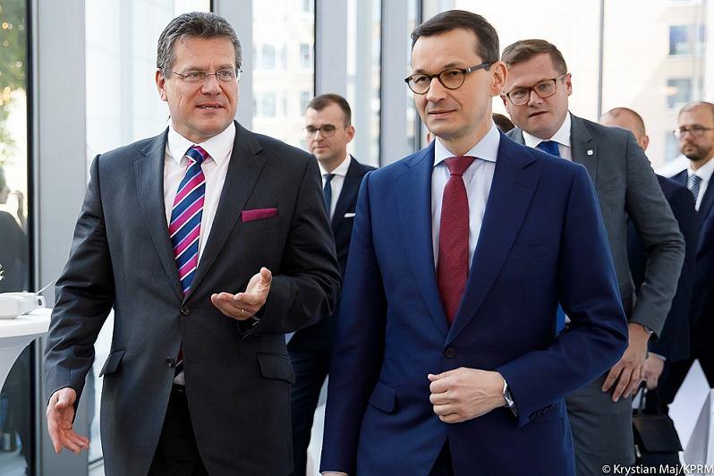 Premier Mateusz Morawiecki i komisarz ds. unii energetycznej Marosz Szefczovicz.