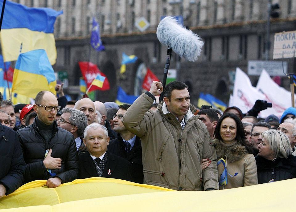 Witalij Kliczko i Jarosław Kaczyński na Majdanie Niepodległości