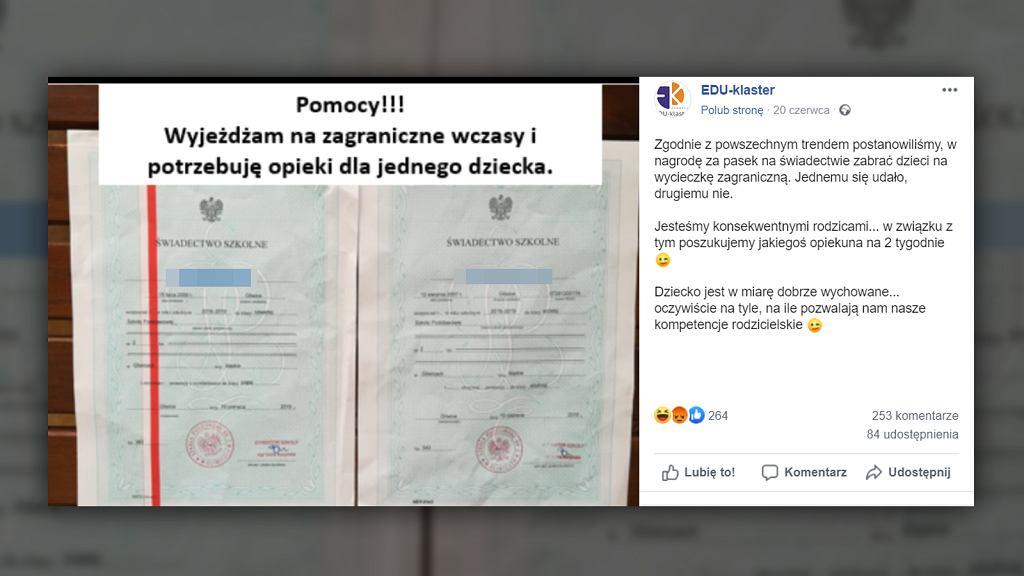 Autor profilu EDU-klaster w żartobliwy sposób krytykuje rodziców, którzy nagradzają swoje dzieci za czerwone paski na świadectwach szkolnych