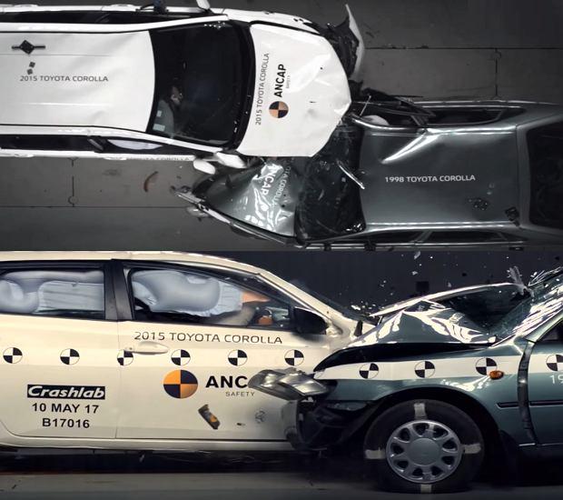 Test zderzeniowy Corolla 1998 kontra Corolla 2015