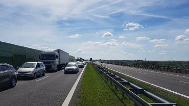 Korek na drodze S3 w okolicach Gorzowa