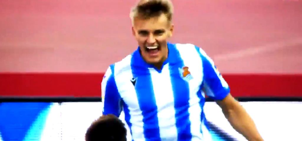 Martin Odegaard cieszy się z pierwszego gola dla Realu Sociedad