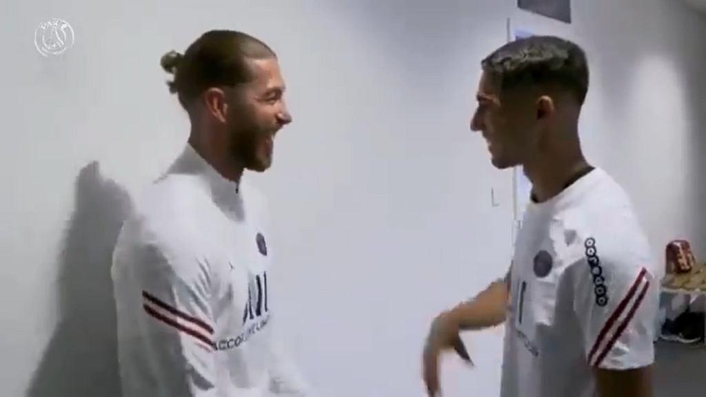 Sergio Ramos i Achraf Hakimi w barwach PSG