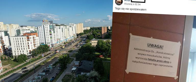 W bloku na Bródnie pojawiła się kartka z prośbą administracji. Mieszkańcy wyrzucają przez okno... fekalia