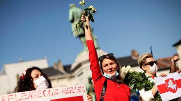 Przed budynkiem Parlamentu Europejskiego odbyła się dziś demonstracja solidarności z Białorusią