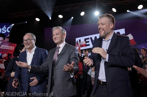 13.10.2019, Warszawa, wieczór wyborczy Lewicy, na zdjęciu od lewej: Włodzimierz Czarzasty, Robert Biedroń i Adrian Zandberg