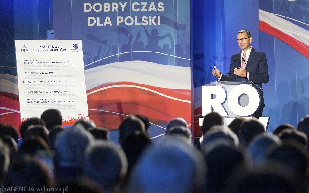 Mateusz Morawiecki podczas konwencji partii Prawo i Sprawiedliwość przedstawia 'Pakiet dla przedsiębiorców', Katowice 21.09.2019