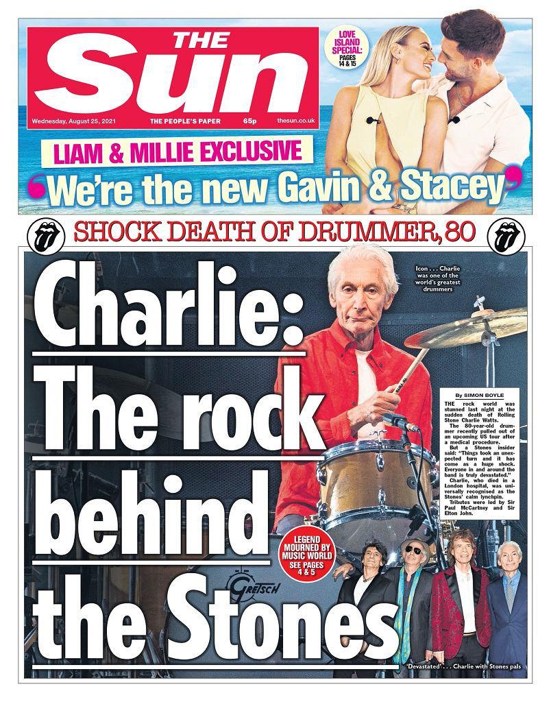 Charlie Watts nie żyje - okładka 'The Sun'