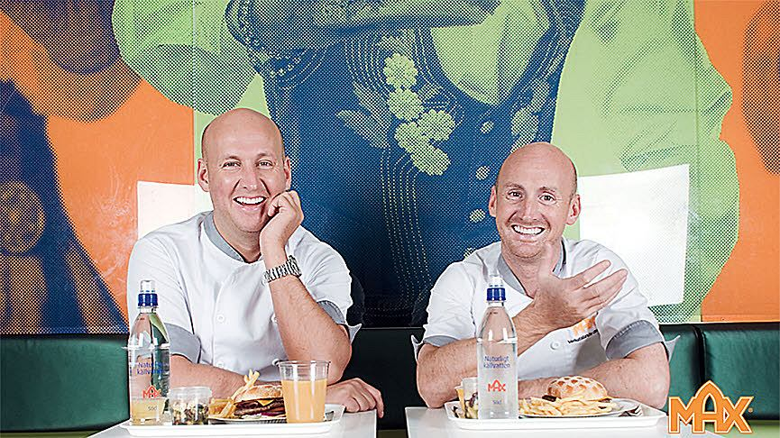 Richard Bergfors (po prawej) - prezes Max Burgers. Po lewej jego młodszy brat, Christoffer Bergfors (wiceprezes)