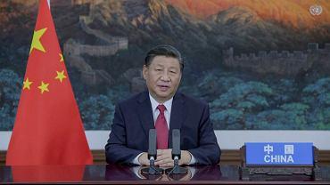 Xi Jinping, przywódca Chin występujący na Zgromadzeniu Ogólnym ONZ (wystąpienie było wcześniej nagrane i odtworzone)