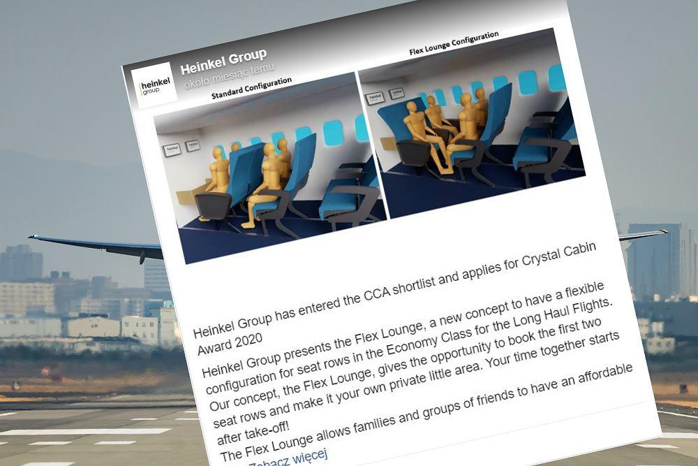 Nietypowe ustawienie foteli w samolotach. Miałoby szansę się przyjąć?