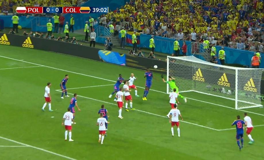 Mecz Polska Kolumbia 0:1. Yerry Mina kontra Wojciech Szczęsny