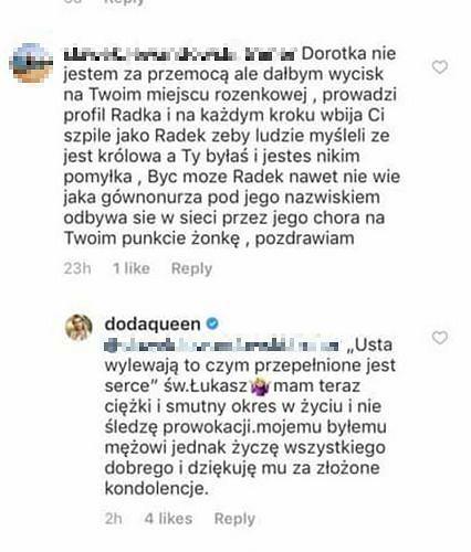 Małgorzata Rozenek pisze komentarze o Dodzie z konta Radosława?