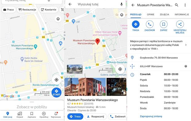 Google Maps - godziny otwarcia obiektów