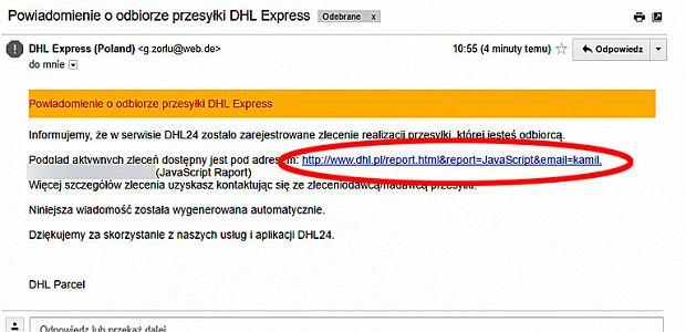 Fałszywy e-mail od DHL