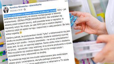 Dziennikarka ostrzega przed mylącymi reklamami. 'Wystarczy pójść do apteki na rogu i zapomnieć o całej pandemii'