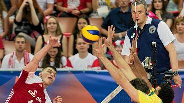 Bartosz Kwolek podczas meczu Ligi Narodów Polska - Brazylia