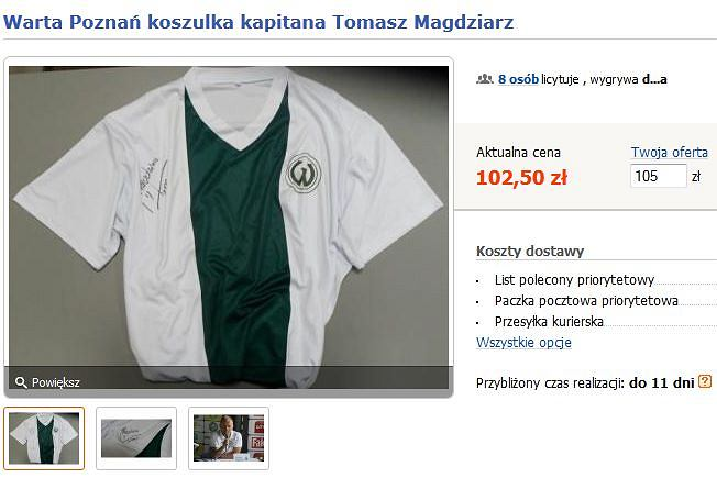 Koszulka retro Warty Poznań Tomasza Magdziarza - aukcja