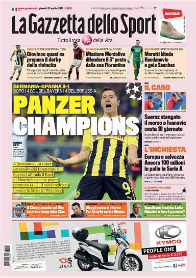 Robert Lewandowski na okładce La Gazzetty dello Sport. 'Panzer Lewandowski'