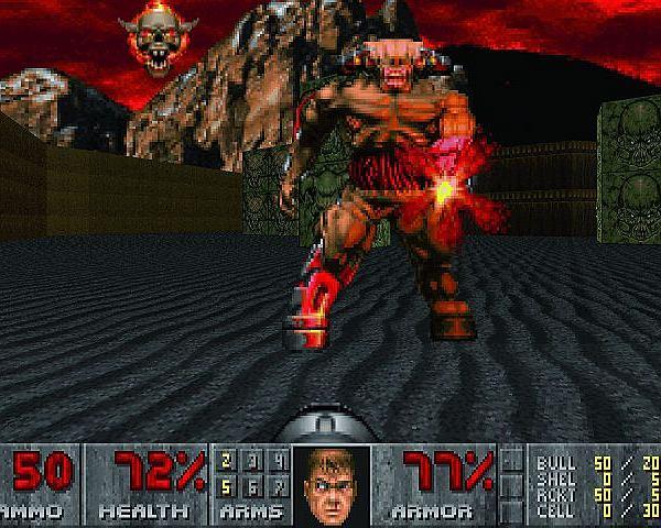 Kadr z popularnej gry Doom, połowa lat 90.