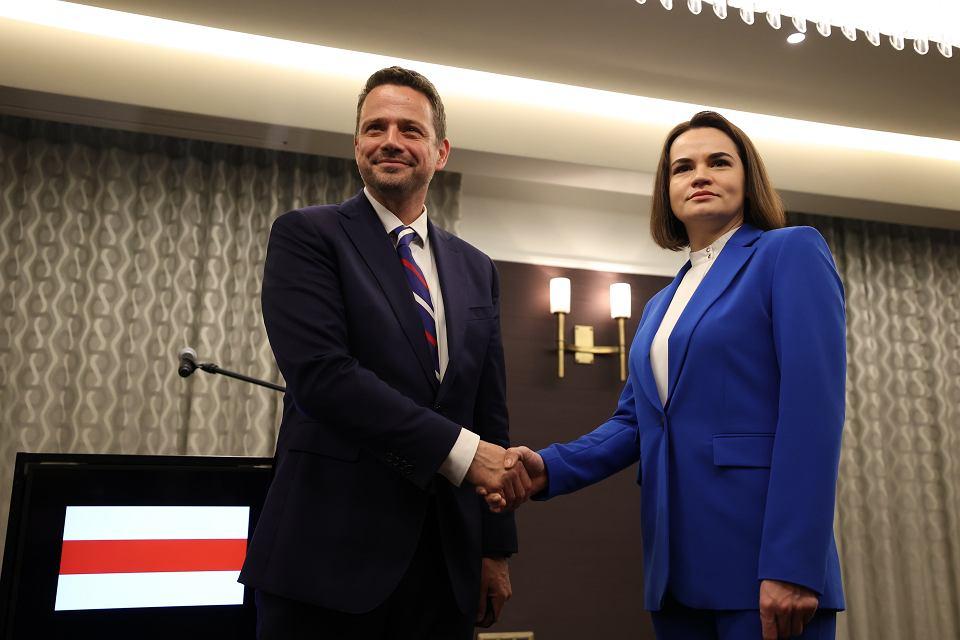 Spotkanie Swiatłany Cichanouskiej z prezydentem Warszawy Rafałem Trzaskowskim, 4 czerwca 2021 r.