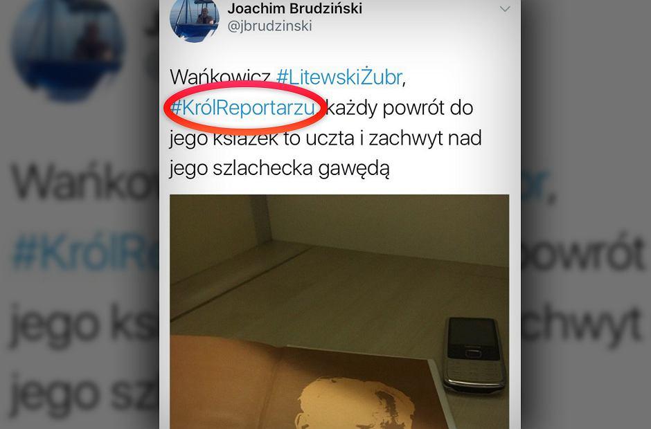 Post na Twitterze wicemarszałka Sejmu Joachima Brudzińskiego.