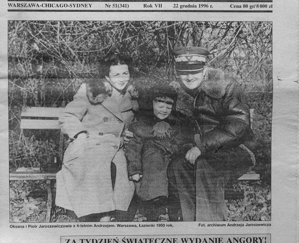 Wycinek z gazety ze zdjęciem rodziny Jaroszewiczów (fot. mat. wyd. Prószyński)