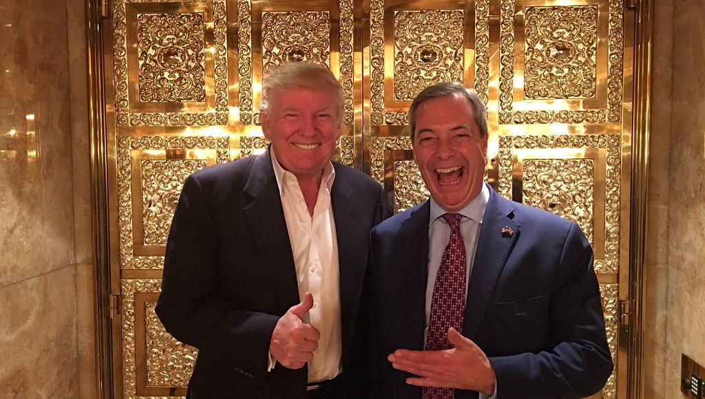Nigel Farage i Donald Trump w apartamencie biznesmena w Nowym Jorku