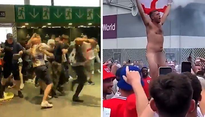 Angielscy kibice przed finałem Euro 2020