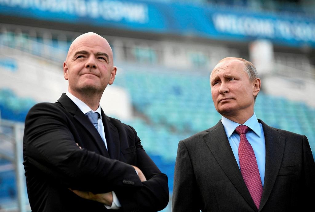Russian President Vladimir Putin, right, and FIFA president Gianni Infantino visit the Fisht Stadium in the Black Sea resort of Sochi, Russia, Thursday, May 3, 2018. Putin says he wants to see 'strong-willed, no-compromise' football from Russia's team at the upcoming World Cup. (Alexei Nikolsky, Sputnik, Kremlin Pool Photo via AP)