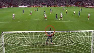 Harry Kane strzela gola w meczu Polska - Anglia (1:1) w eliminacjach MŚ 2022. W bramce Wojciech Szczęsny - screen z TVP Sport