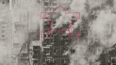 Niemieckie zdjęcie lotnicze wykonane tuż przed wybuchem powstania. 27 lipca 1944 roku. Jasne miejsca to puste parcele po domach zburzonych w efekcie niemieckich nalotów we wrześniu 1939 roku oraz bombardowań sowieckich w czasie niemieckiej okupacji