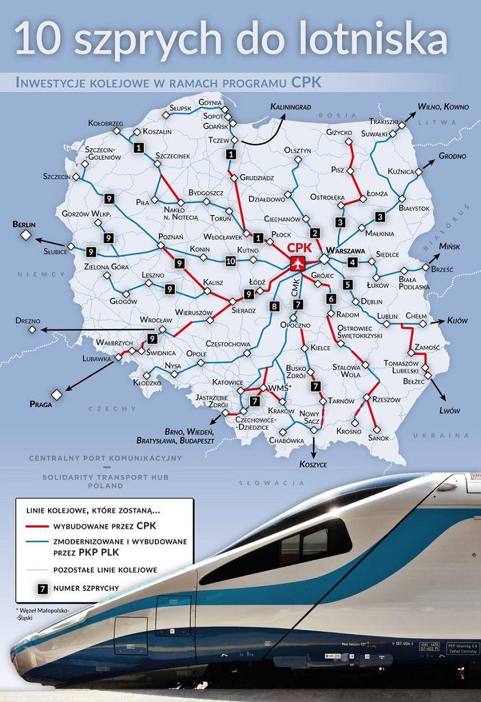 Mapa połączeń kolejowych w ramach CPK