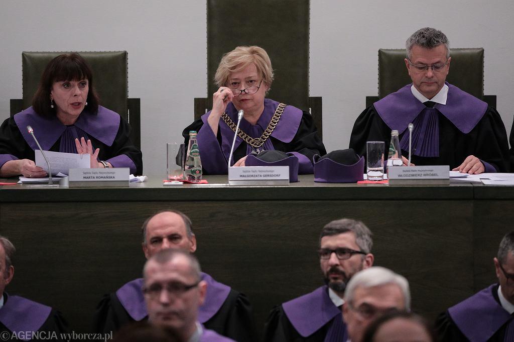 Sąd Najwyższy podczas ogłaszania uchwały w sprawie sędziów rekomendowanych przez nową KRS