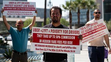 5.09.2017, Los Angeles, protest kierowców Ubera i Lyfta przeciwko niskim zarobkom.