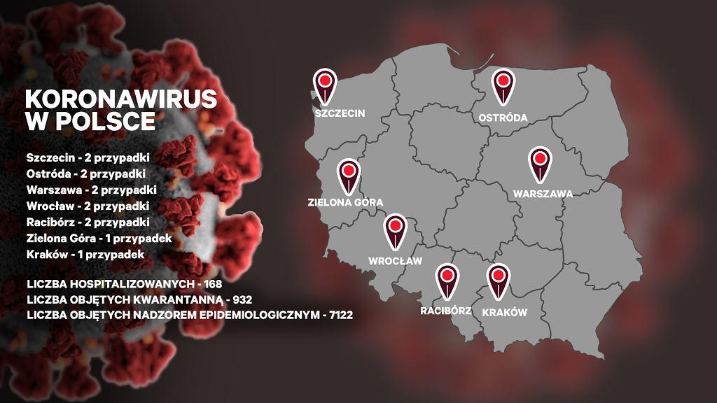 Koronawirus w Polsce - mapka