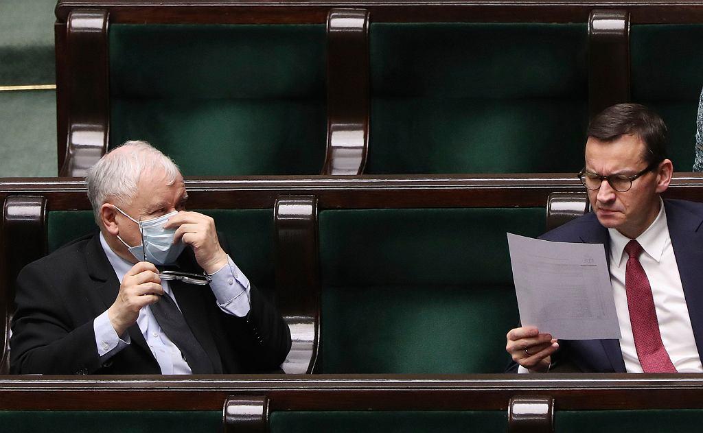 Prezes PiS Jarosław Kaczyński i premier Mateusz Morawiecki.