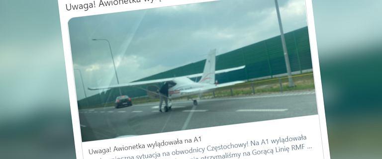 Autostrada A1. Na obwodnicy Częstochowy wylądował mały samolot