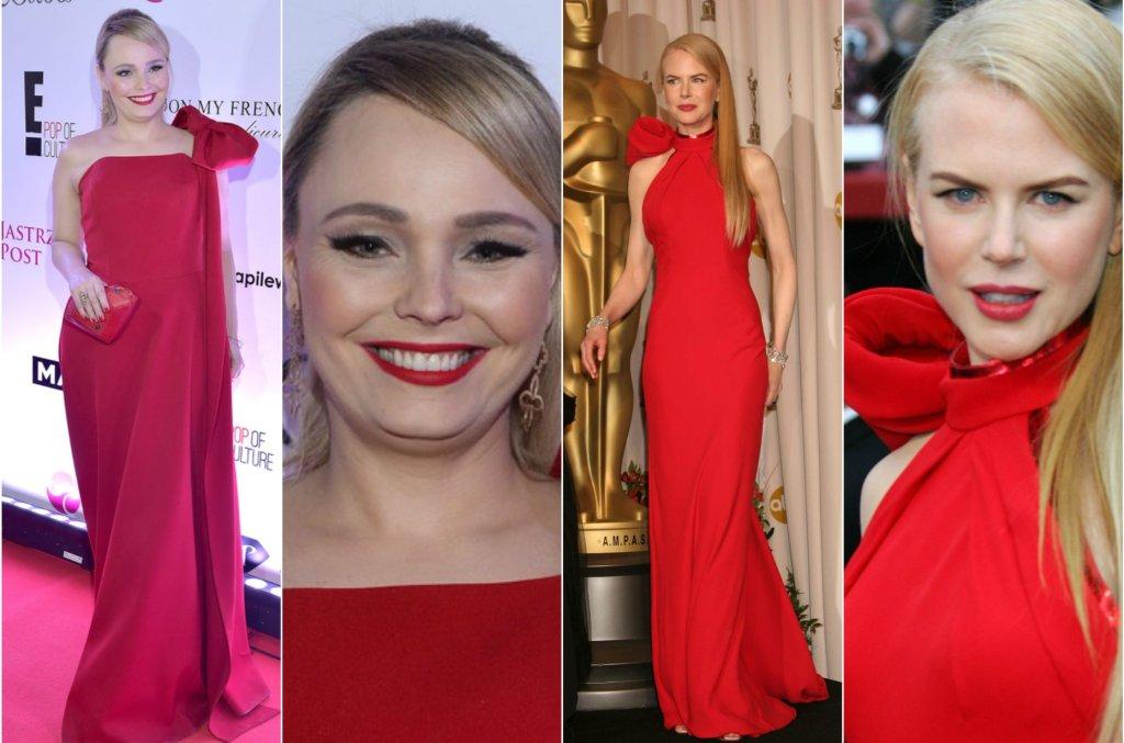 Agnieszka Jastrzębska uwielbia styl wielkich gwiazd, jednak woli chyba nie nadwyrężać tak bardzo budżetu i zamiast w suknie wielkich domów mody, inwestuje w ich zamienniki z polską metką.